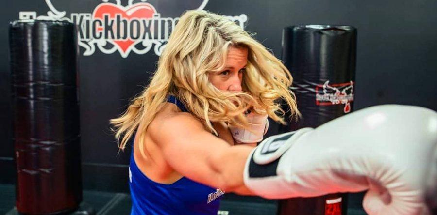 girl punching bag
